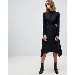 ALLSAINTS Flyn Dress M Black Midi Shirt Dress Asym
